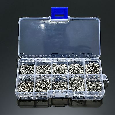Sliver Plated Jewelry Making Starter Kits Bead Caps Pliers Chain Cord Tools Kit