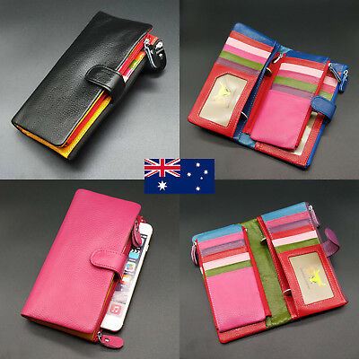 22 Card Inserts Soft Genuine Leather Ladies Womens Wallet For iPhone 6 7 8 Plus