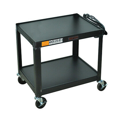 Luxor W26E Multipurpose Fixed Height Steel A/V Cart, With Two Shelves, Black New