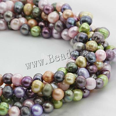 """8-9mm Potato Natural Cultured Freshwater Pearl Loose Bead Beads 15"""" Multi-color"""