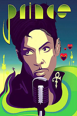 Prince Purple Green Art Abstract WALL ART CANVAS FRAMED OR POSTER PRINT