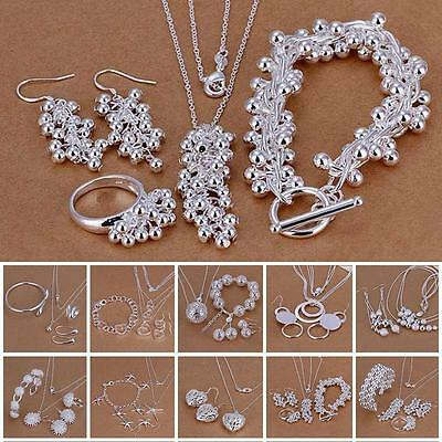 Stylish 925 Sterling Silver Plated Chain Bracelet Earring Necklace Jewelry Set
