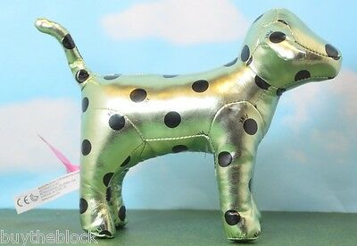 "Victoria Secret Pink  7 ""  Dog Metallic Light Green With Black Polka Dots"