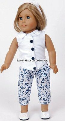 Flower Capri Pants+White Sleeveless Blouse 18 in Doll Clothes Fits American Girl