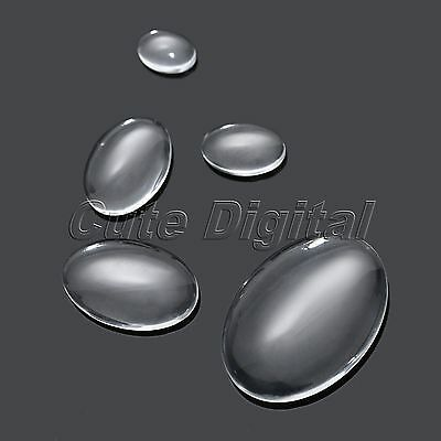 Clear Oval Flat Back Cover Domed Glass Cabochon Fits Cameo Settings Wholesale