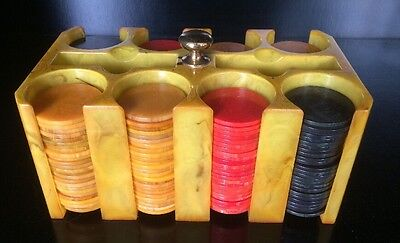 Poker Chip Caddy Butterscotch  Bakelite + 200 Red Black Yellow Chips