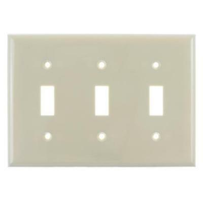 SUNLITE 3 Gang Toggle Plate Ivory Color E103I