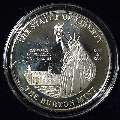 Burton Mint Statue of Liberty Silver 1 troy oz .999 Fine Silver Art Rounds