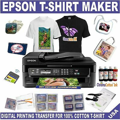 Epson Wf Printer  Bundle Start Pack Heat Transfer Ink T-Shirt Maker  Cotton Ink