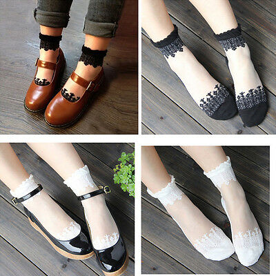 Hot Sale 1 Pair Women Ultrathin Transparent Crystal Lace Elastic Short Socks New