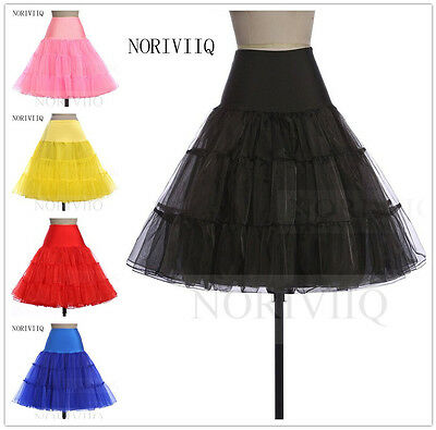 "NORIVIIQ NEW Women's Petticoat Rockabilly Tutu Skirt 26"" Length Skirts Slips US"