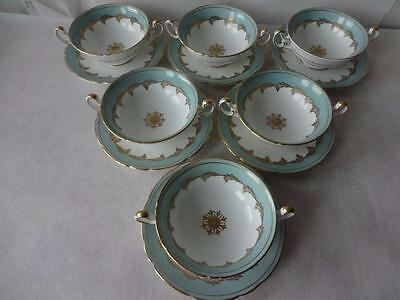 6 x Rare Foley China Pattern 3087 Scalloped Footed Soup Coupes Bowls & Saucers