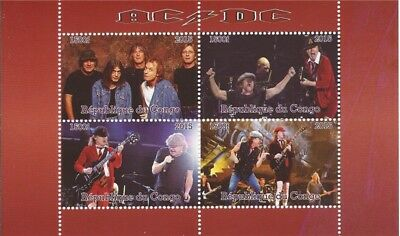 Congo - 2015 AC/DC on Stamps - 4 Stamp  Sheet - 3A-486