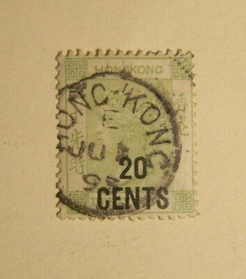 British Empire Hong Kong # 52 Used Queen Victoria 20¢ Overprint