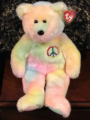 Retired Ty Beanie Buddy Neon Peace Bear  Mint With Tag