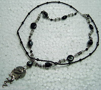 EVIL EYE BLACK DRAGON NECKLACE - Wicca Pagan Witch Goth  Ritual