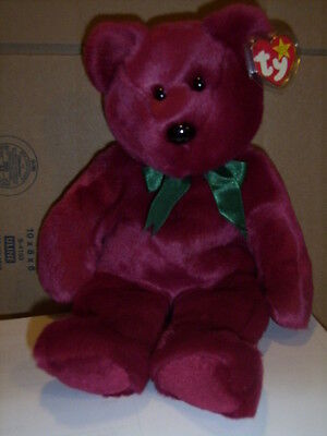 Retired Ty Beanie Buddy  Cranberry Bear  Mint With Tag
