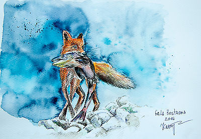 The Catch fox watercolor original painting dog-fox pet fish hunter wild nature