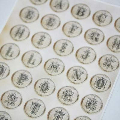 Letters Sticker Sheet Alphabet Ornate A - Z - 35 Stickers Old Fashioned Vintage