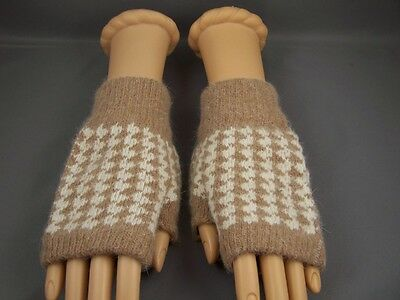 Light Brown cream wool angora arm warmers fingerless gloves texting open thumb
