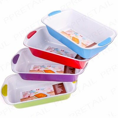 LARGE LOAF TINS WITH SILICONE GRIPS Deep Rectangle Cake/Bread Baking Tray Mould
