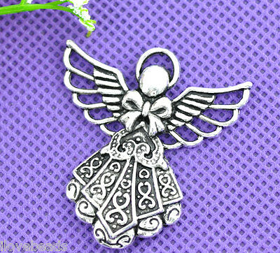 10 Silver Tone Angel Charms Pendants Jewelry Making 42x39mm