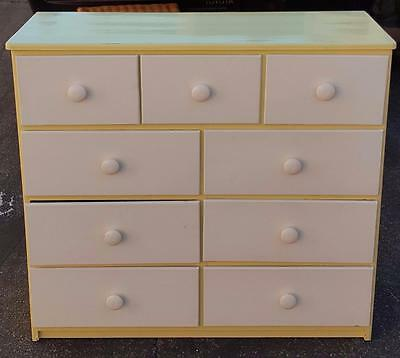 Vintage Solid Wood Painted Dresser Chest Of Drawers - Yellow/White - VGC PRETTY