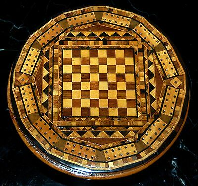 Marquetry Cribbage Board Miniature Table