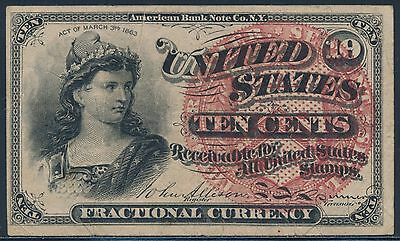 Fr1258 10¢ 4Th Issue Fractional Large Seal Unwatermark W/ Pink Fibers Xf Bs9162