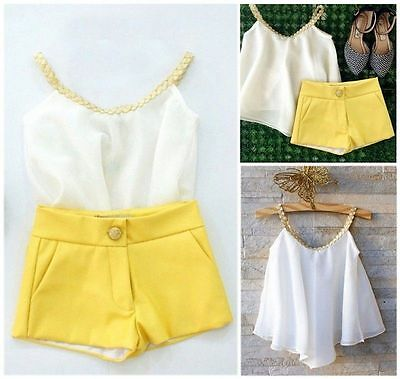 UK Chiffon Girls Baby Kids Sun Top Shirt Hot Pants Shorts Summer Outfits Clothes