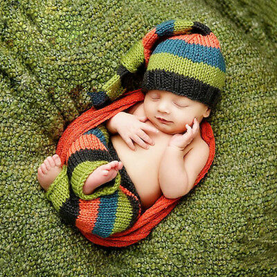 1 Set Lovely Newborn Baby Crochet Stripe Hat Pant Photo Photography Prop Outfit