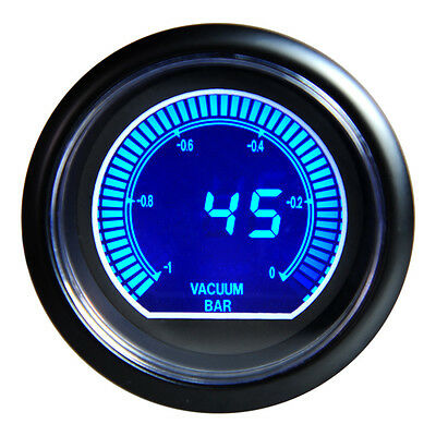 "60mm 2.5"" Racing Vacuum Ratio Gauge Meter Blue Shift Lcd Universal Brand New"