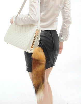 Hot Fox Tail Fur Tassel Bag Tag Keychain Strap chain Handbag Pendant 45cm long