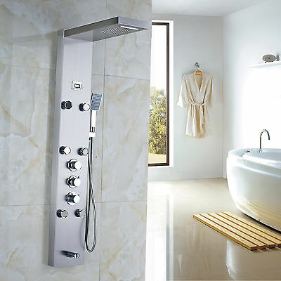 Stainless Steel Rain Waterfall Shower Panel Massage Jets Tub Shower Faucet