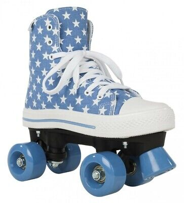 Rookie Canvas Junior/Adult Size Roller Quad Skates - Blue Stars