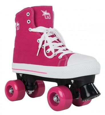 Rookie Canvas Junior/Adult Size Roller Quad Skates - Pink