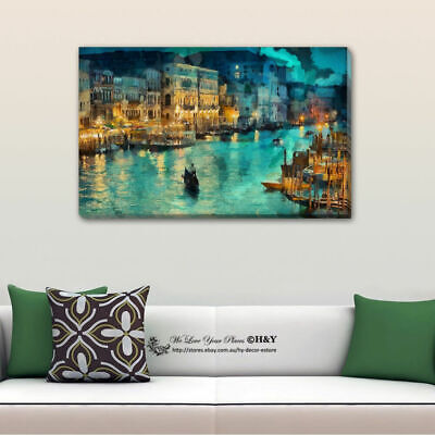 Seaside City Abstract Pattern Stretched Canvas Print Framed Wall Art Home Decor