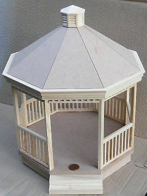1:12 Scale Wooden Victorian Gazebo Kit Dolls House Garden Building Accessory