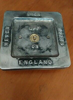 Vintage toggle Industrial Cast metal lightswitch BSEN approved easy RETROFIT