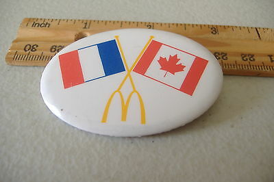 ~Mcdonalds~France & Canada Flags~Oval Button Pin~