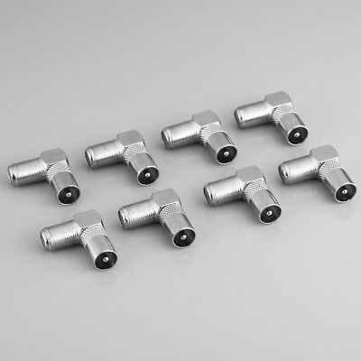 8 x Right Angle 90 degree F Connector Female to Aerial RF Coax Male Plug Adapter