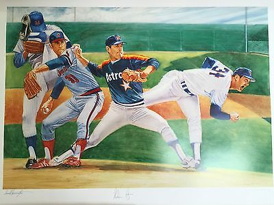 Nolan Ryan Lithograph Autographed Hand-Signed 1993 Limited Edition w/ COA!