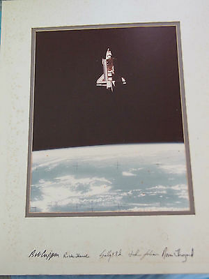 STS-7 matted NASA photograph - hand signed by entire crew Sally Ride