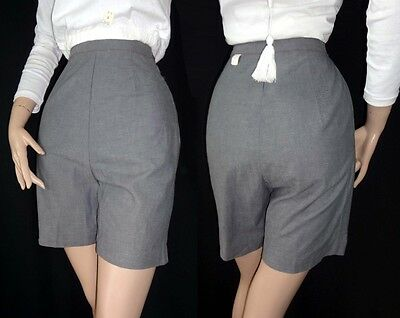 FAB! Vtg 1950s GRAY CHAMBRAY Shorts Side Zip NOS S 22-24 Pants RED STITCHING