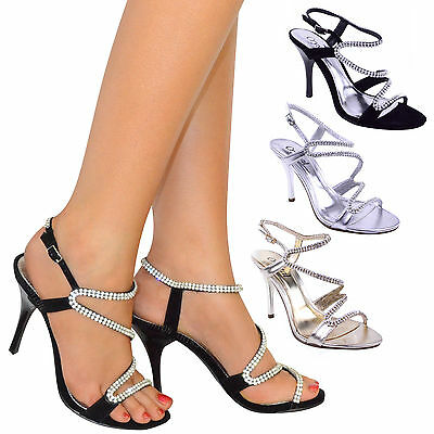 Ladies High Heels Shoes Sandals Prom Party Evening Bridal Bridesmaid Size
