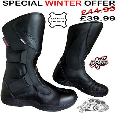 Black Hawk High Tech Mens Motorbike Motorcycle Ce Touring Leather Shoes / Boots