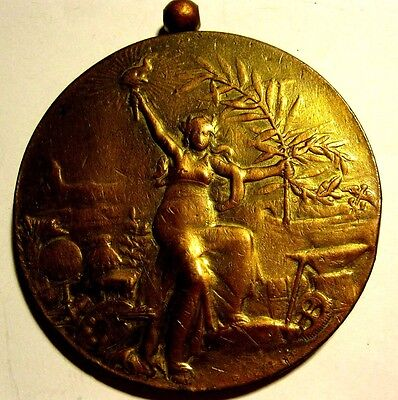 FRENCH / CONCOURS INTERNATIONAL EXPOSITION / ART NOUVEAU BRONZE MEDAL 71 mm N126