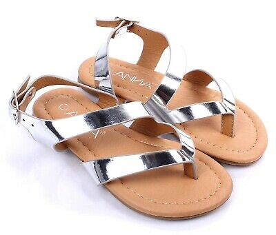 d072e7db9 Silver Summer New Cute Slip-On Kids Flats Girls Youth Sandals Shoes Size 9-