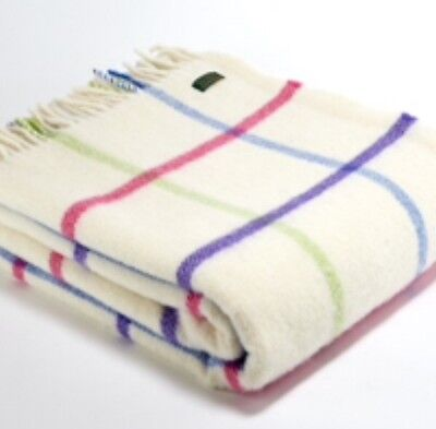 TWEEDMILL Playground Bright Check Cream Pink Blue Throw In Pure New Wool Blanket