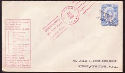 Tonga/tin Can Mail/pacific Cruise 1934 Cover